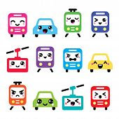 stock photo of kawaii  - Vecotr icons set of Kawaii transport characters  - JPG
