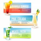 picture of pina-colada  - Tequila sunrise pina colada mojito fresh cocktails horizontal banner set isolated vector illustration - JPG