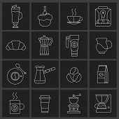Coffee icons outline set