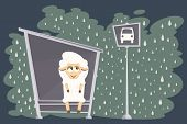 Vector Illustration. Card With Baby Lamb Waiting For The Bus.