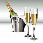 Champagne Bottle In Cooler