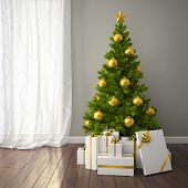 Christmas tree with gold decor in classic style room with dark floor. 3D interior rendering