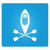 foto of coracle  - kayak symbol on blue square button - JPG
