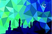 Colorful mosaic design - mosque black silhouette, blue color