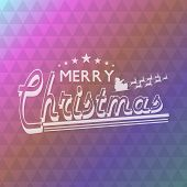 Merry Christmas poster design with Santa Claus sitting on reindeer sleigh and stylish retro text on abstract background.