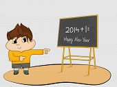 Little cartoon boy pointing blackboard for welcome of coming year 2015, Happy New Year greeting card design.