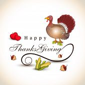 Stylish text with turkey bird, fruits, maple leaf and corn for Thanksgiving Day celebration.