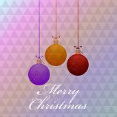 Merry Christmas celebration with colorful hanging X-mas balls and stylish text on abstract background.