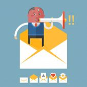 Set of flat design concept icons for mail marketing