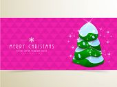 Merry Christmas festival celebration with X-mas tree covered by snow and stylish text on shiny pink background.