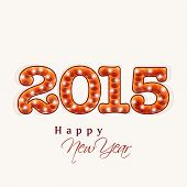 Stylish text 2015 on beige background, Greeting card design for Happy New Year celebrations.