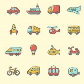 Transport icons �¢�?�? cartoon, hand drawn style