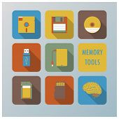 Retro Memory Tools Icons Set