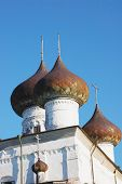 Cupola Of Medieval Cathedral In Kargopol, Russia poster