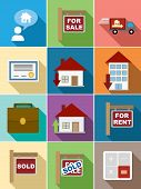 Real Estate Flat Icons Set Design