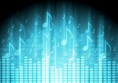 Blue music background with equalizer and notes. Vector design