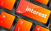 Interest - Business Concept. Button On Modern Computer Keyboard