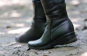 picture of lady boots  - Close up of Pair of Black Ladys boots - JPG