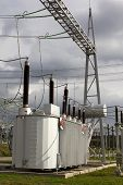 stock photo of substation  - Electrical power transformer in high voltage substation - JPG