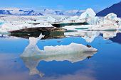 Ocean ice lagoon J�?�?�?�¶kuls�?�?�?�¡rl�?�?�?�³n. Azure ice  reflected in cold smooth water