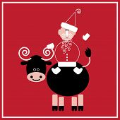 stock photo of oxen  - Illustration of Santa Claus with the ox on the red background - JPG