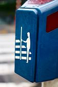 image of pedestrian crossing  - Pedestrian street crossing button in Brussels - JPG
