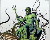 picture of poseidon  - vector illustration of the sea god Poseidon  - JPG