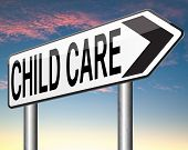 stock photo of babysitting  - child care or protection in daycare or cr - JPG