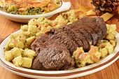 picture of butternut  - Roast beef with stuffing and a butternut squash gratin casserole - JPG