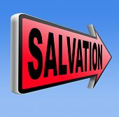 image of jesus sign  - salvation road sign arrow follow jesus and god to be rescued save your soul sign with text and word  - JPG
