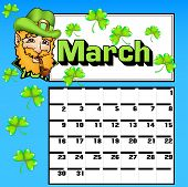 Calendar For March St. Patrick's Day Shamrock Hat
