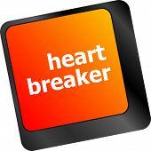 Heart Breaker Word On Keyboard Key, Love Concept