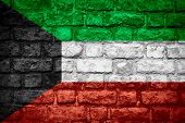 picture of kuwait  - flag of Kuwait or Kuwaiti banner on brick texture - JPG