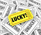 Lucky golden ticket winner defeats odds vs unlucky losers in a raffle or fundraising contest