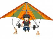 stock photo of glider  - Illustration Featuring a Boy Riding a Hang Glider - JPG