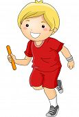 Illustration Featuring a Boy Participating in a Relay Race