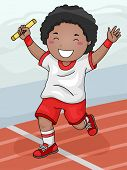 Illustration Featuring a Boy Winning the Relay Race for His Team
