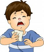 Illustration Featuring a Boy Having a Sneezing Fit Due to an Allergic Reaction