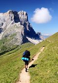 view of Gruppo dele odle with tourist - geislergruppe - dolomiti italy