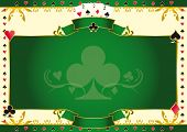 Poker game ace of clubs horizontal background. A background for your Poker Tournament with a clubs shape. Write your message on the empty frame. Dimensions are ideal for a screen