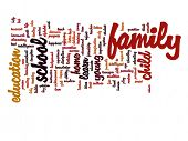 Concept or conceptual family education abstract word cloud on white background