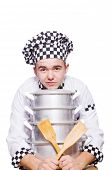 Funny male cook isolated on white