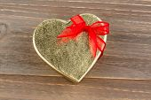 a box for a gift in the shape of a heart. photo icon for valentine's day, wedding, engagement.