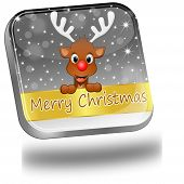 Reindeer wishing Merry Christmas Button