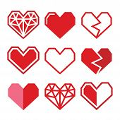 Geometric red heart for Valentine's Day icons
