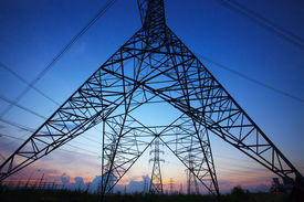 pic of electric station  - silhouette of high voltage electric pole against beautiful dusky sky use as electric power and energy industry backgroundbackdrop scene - JPG