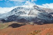 picture of atlas  - landscape of Mount Atlas in Morocco with herd of goats on the basis - JPG