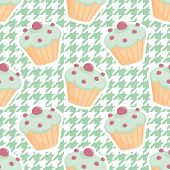 picture of mint-green  - Tile vector cupcake pattern on mint green houndstooth background for seamless decoration wallpaper - JPG
