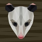 stock photo of opossum  - Abstract polygonal geometric triangle opossum background for use in design for card invitation poster banner placard or billboard cover - JPG