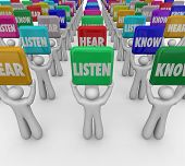 picture of attention  - Listen Hear Know words on tiles or signs held up by people or students to illustrate the steps or principles of paying attention and gaining knowledge in education - JPG